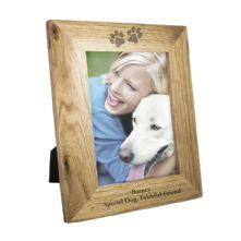Personalised Dog Gifts: 5x7 Paw Prints Wooden Photo Frame